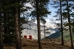 Parks Canada has a #sharethechair program with comfy red chairs strategically placed in all the national parks. This pair of chairs overlooks Lake Minnewanka in Banff National Park.